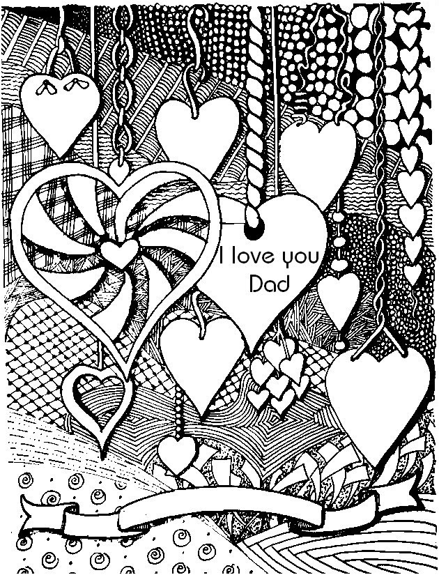 Art Therapy Coloring Page Fathers Day I Love You Dad 7
