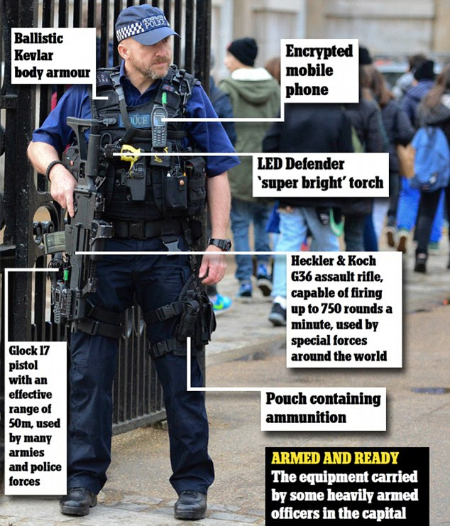 Armed and ready: The equipment carried by some armed officers in London, here outside Horse Guards