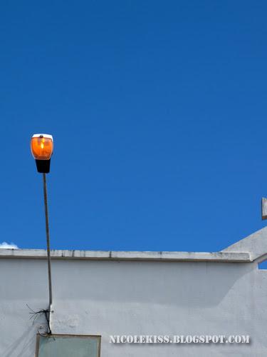 orange light and blue sky