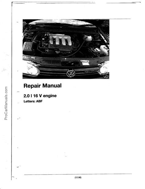 PDF ONLINE - VW Engine 2.0 Litre 16V ABF Repair Manual