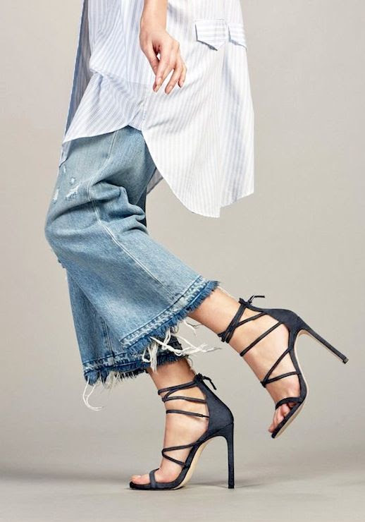 Le Fashion Blog Weekend Style Oversized Striped Shirtdress Cropped Frayed Hem Jeans Strappy Heeled Sandals Via Stuart Weitzman