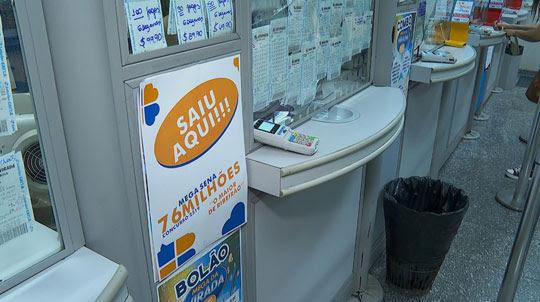 Guichê de lotérica em shopping onde aposta milionária foi registrada em Ribeirão Preto, SP   Foto: Reprodução/EPTV