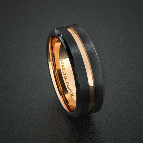 Tungsten Wedding Band Mens Ring Two Tone Rose Gold Black
