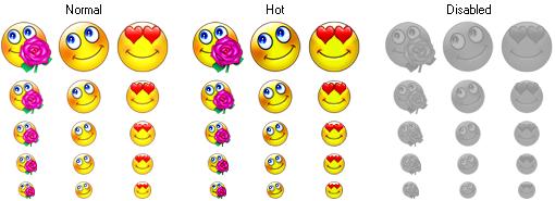 Smile Icon states and sizes