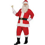 Men's Santa Claus St. Nick Red Flannel Suit Faux Fur Christmas Holiday Costume