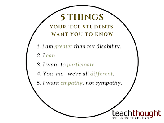 I Am More Than My Disability: 5 Things Your 'ECE Students' Want You To Know -