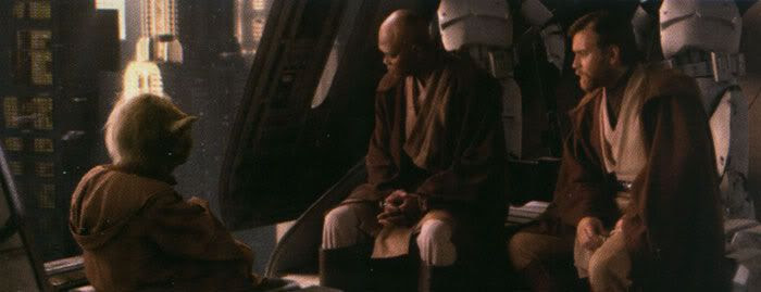 Mace Windu, Yoda and Obi-Wan Kenobi confer onboard a Republic Gunship following the rescue of Chancellor Palpatine.