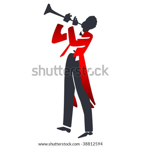 stock photo : abstract trumpet player