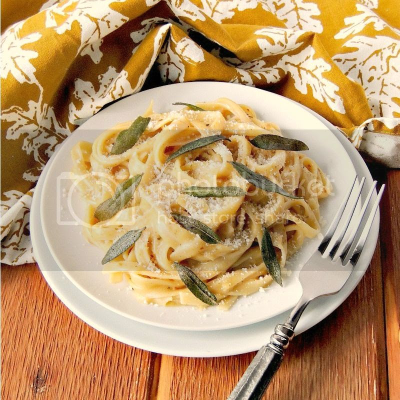 Creamy Pumpkin Alfredo with Roasted Garlic and Sage