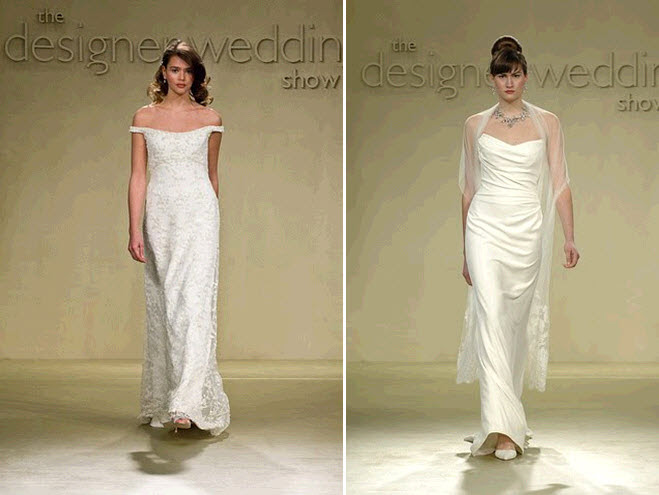 Flowy sheath style white wedding dresses with offtheshoulder neckline