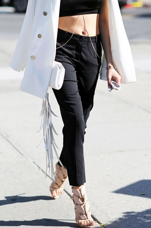 Le Fashion Blog Street Style White Blazer Body Chain Crop Top Fringe Clutch Cropped Black Pants Nude Heeled Sandals Via Refinery29