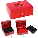 Ktaxon Protable Metal Tiered Cash Money Box Lock Locking Bank Safe Key Security Tray
