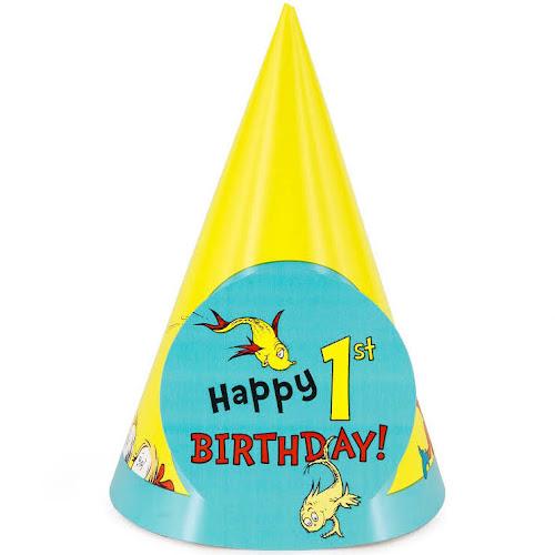 Dr Seuss 1st Birthday Cone Hat
