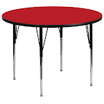 48'' Round Red HP Laminate Activity Table - Standard Height Adjustable Legs
