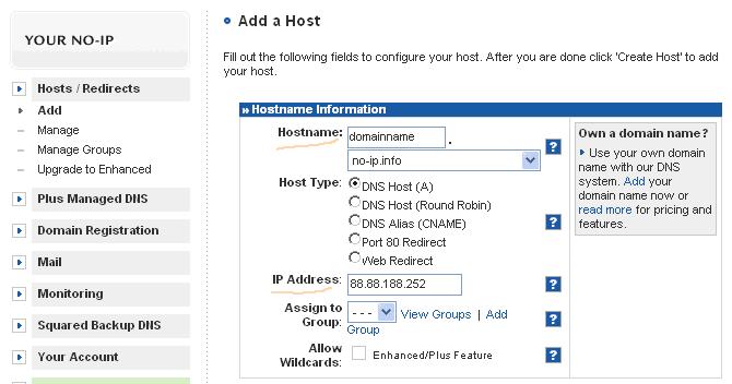Figura 14. El nombre del DNS dinámico