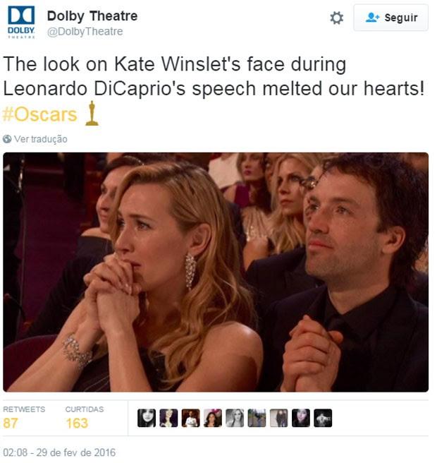 A vitória de Leonardo DiCaprio no Oscar rendeu muitos memes na internet (Foto: Reprodução/Twitter/@DolbyTheatre)