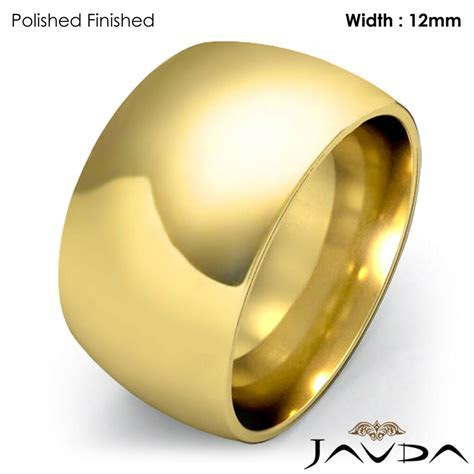 Wider Women 18k Gold Plain Dome Wedding Band Ring 12mm