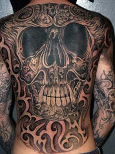 Skull Tattoo On Full Back For Men