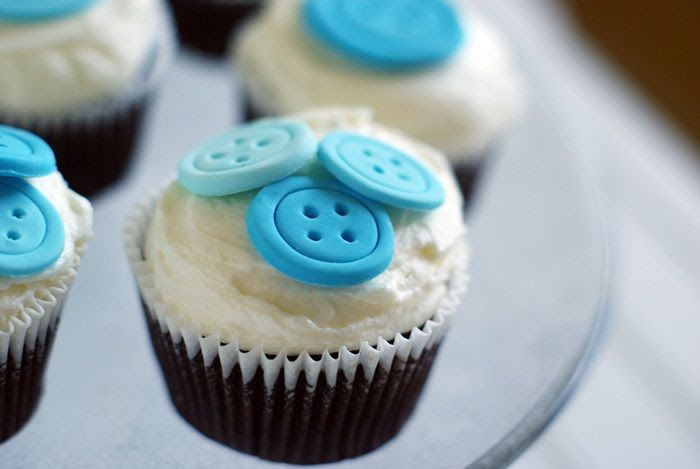 cute as a button cupcakes for a boy baby shower!
