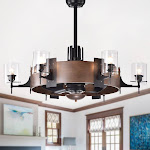 Lodgin 35-inch Lighted Ceiling Fan with Glass Pillar Lamps