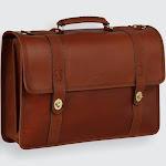 American Bullhide Leather Messenger Briefcase - Cognac