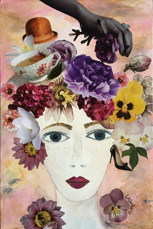 Mixed media art collage blooming garden flower woman flower