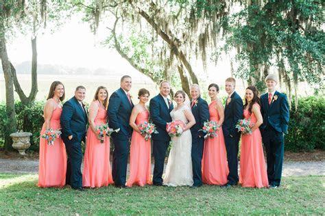 Navy and Coral Charleston Wedding at Creek Club at I'On