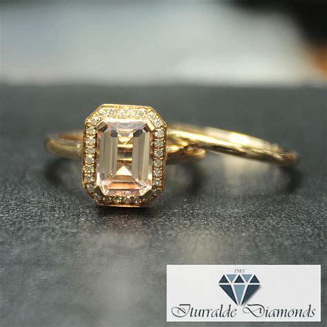 Emerald Cut Morganite Engagement Ring Diamond Milgrain