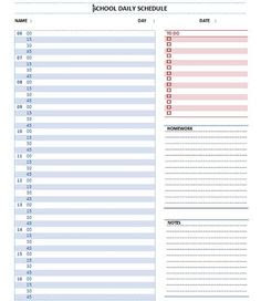 daily schedule planner template daily planner