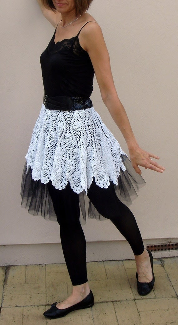 White Crohet Tutu Skirt with black petticoat size S-M