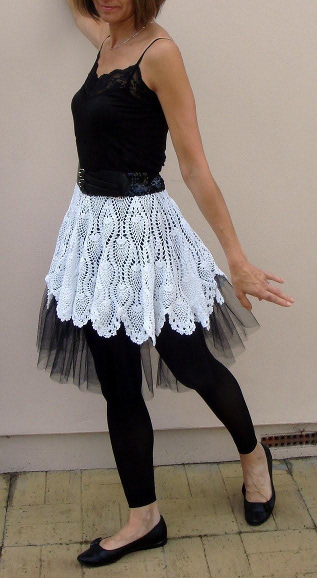 White Crohet Tutu Skirt with black petticoat size S-M