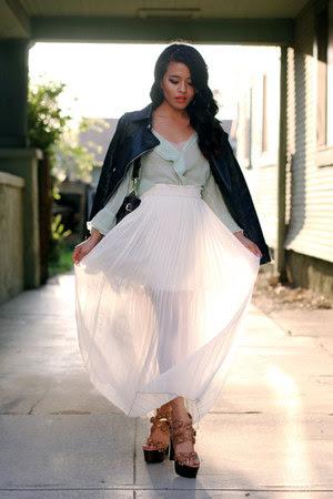 mint blouse Alana Hale blouse - leather jacket Modekungen jacket