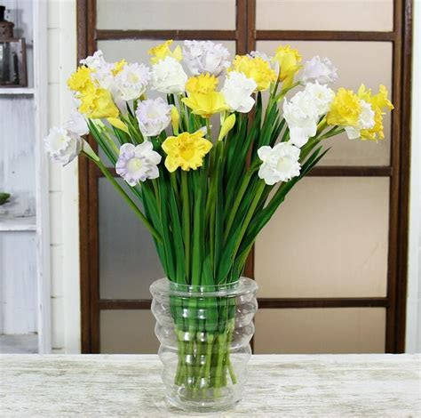 Wholesale 100pcs Spring Flower PU Yellow Daffodil Real