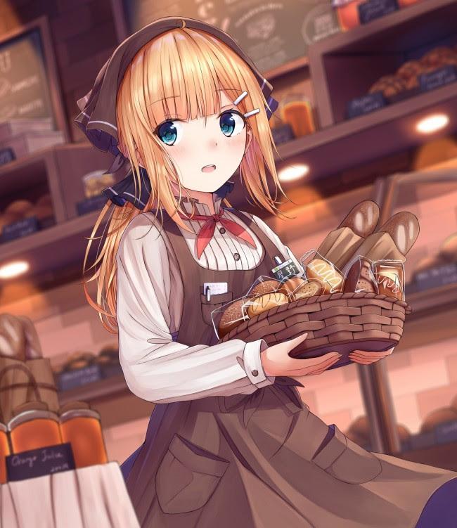 Wallpaper Anime Girl, Waitress, Cafe, Breads, Uniform ...