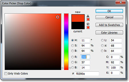 Selecting a new gradient color from the Color Picker. Image © 2013 Photoshop Essentials.com