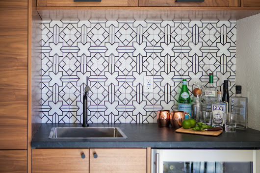 Patterned Tile Showcases an Open Kitchen's New Minibar