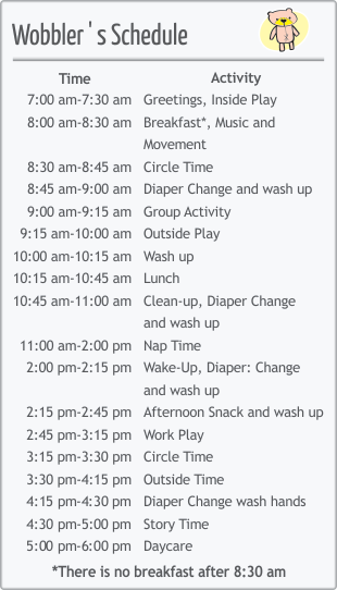 Infant Room Daily Schedule   Daily Planner