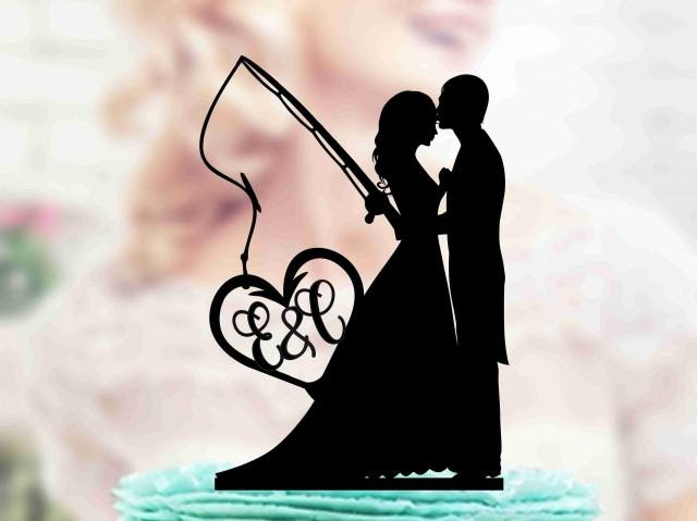Download Fishing Wedding Cake Topper Bride And Groom With Fishing Rod Monogram Topper Wedding Pair Anniversary Silver And Gold Mirror Topper 2966435 Weddbook