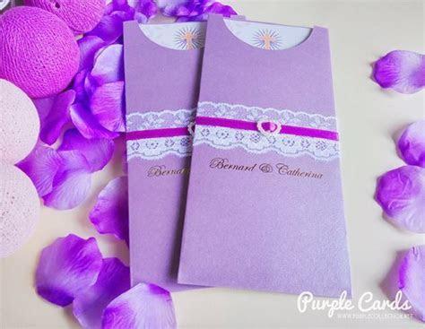 Purple Pocket Lace Wedding Card