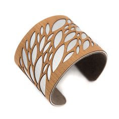 Laser Cut Wood Cuff Bracelet Leaves Pattern in Cherry / Modern Jewelry