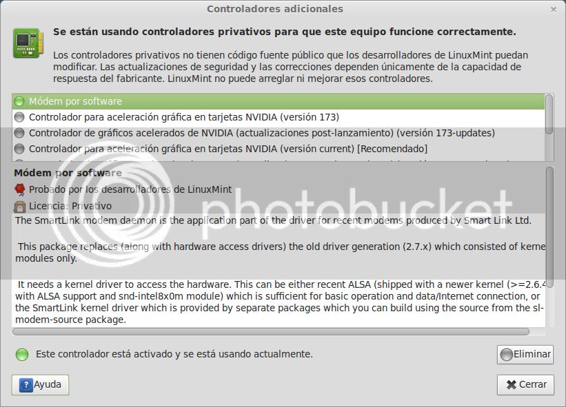 menú de los controladores adicionales en Ubuntu 12.10