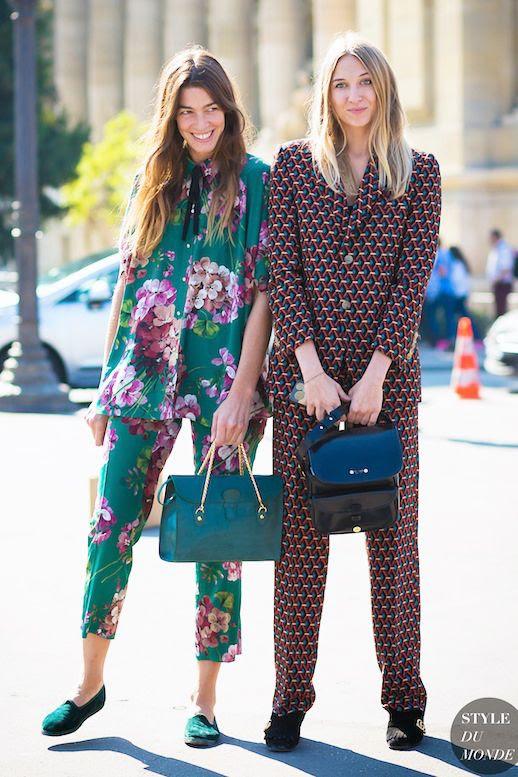 Le Fashion Blog Street Style Trends Printed Matching Pajama Set Teal Shoulder Bag Leather Tote Green Flats Heels Via Style Du Monde