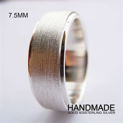 Handmade 7.5mm Mens Solid 925 Sterling Silver Plain