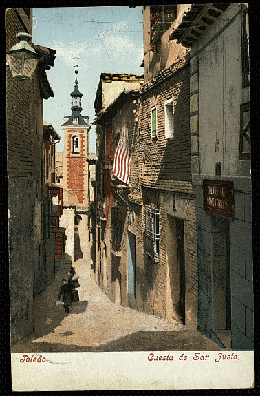Iglesia de San Justo (Toledo). Postal coloreada de Purger & co.