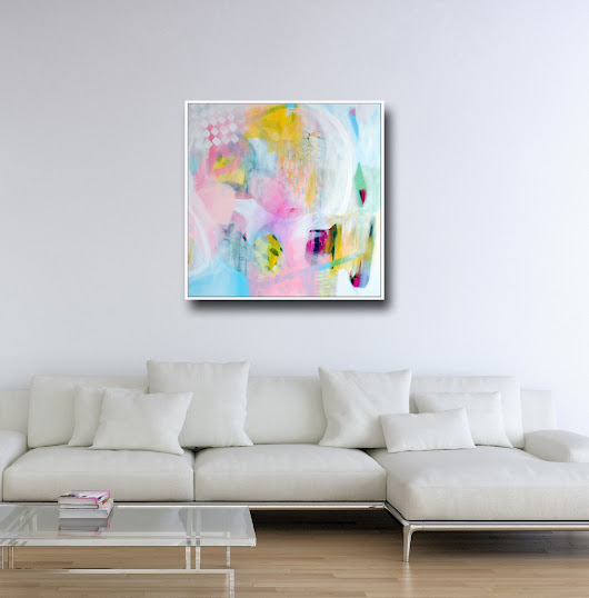 Large Abstract, Canvas Art, Wall Art, Pink White Green and Blue Abstract Print from Painting, Large Giclee Print,  Modern Artwork, Expressive Abstract Canvas Art