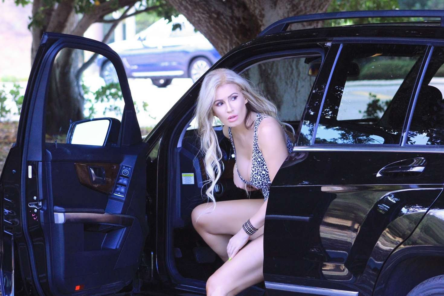 Ana Braga in Leopard Print Top – Out in Calabasas