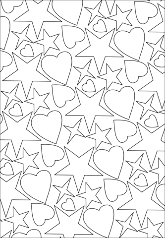 hearts and stars pattern coloring page  free printable coloring pages