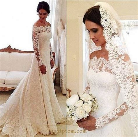 White Long Sleeve Off Shoulder Lace Overlay Wedding Dress