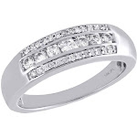 Real Diamond Wedding Band 14K White Gold Mens Round Cut Channel Set Ring 1/2 CT.