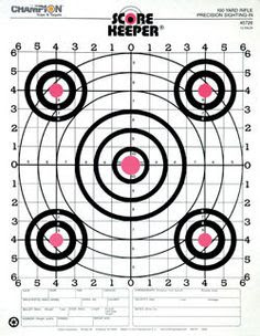 Red Pistol & Rifle Sighting-In Bullseye Paper Shooting Targets ...